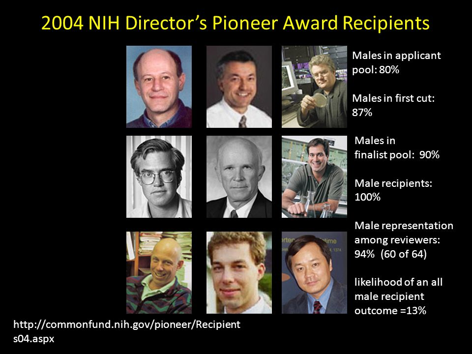 2004 NIH Director's Pioneer Award Recipients http://commonfund.nih.gov/pioneer/Recipient s04.aspx Males in applicant pool: 80% Males in first cut: 87% Males in finalist pool: 90% Male recipients: 100% Male representation among reviewers: 94% (60 of 64) likelihood of an all male recipient outcome =13%