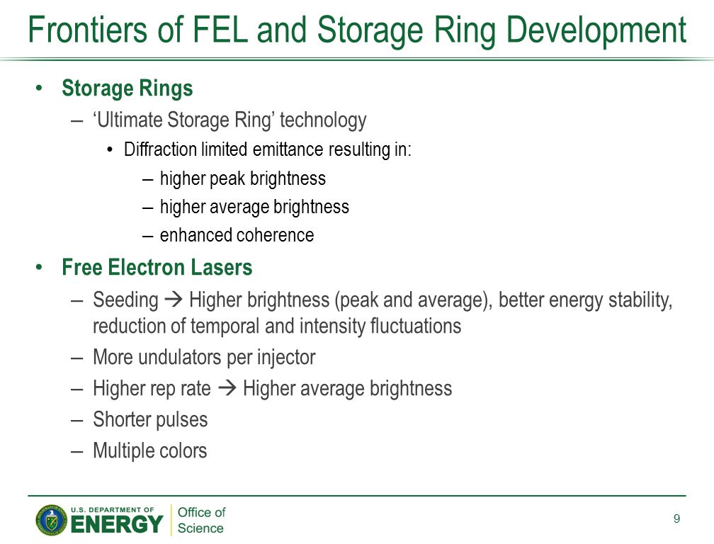 Frontiers of FEL and Storage Ring Development Storage Rings – 'Ultimate Storage Ring' technology Diffraction limited emittance resulting in: – higher