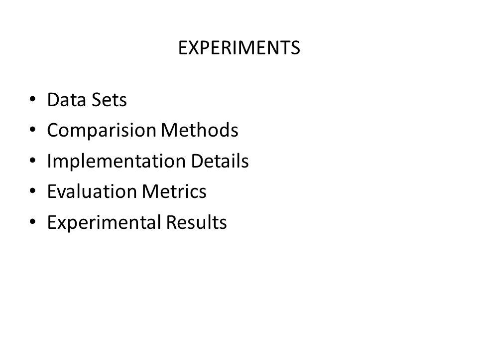 EXPERIMENTS Data Sets Comparision Methods Implementation Details Evaluation Metrics Experimental Results