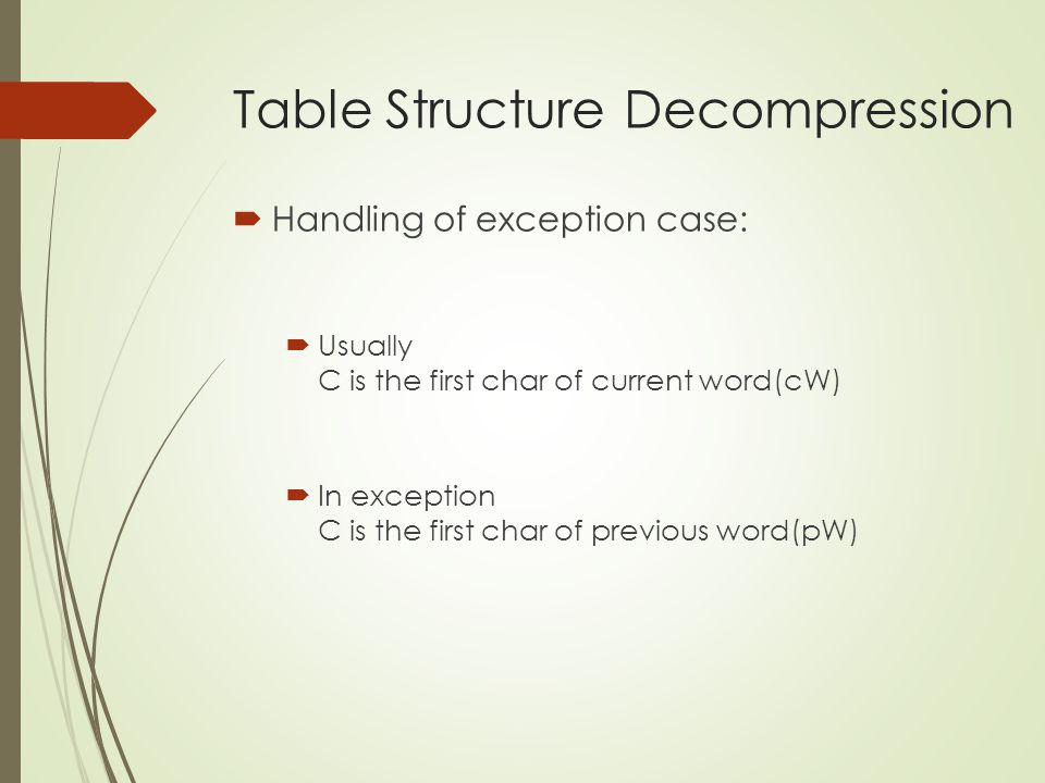  Handling of exception case:  Usually C is the first char of current word(cW)  In exception C is the first char of previous word(pW)
