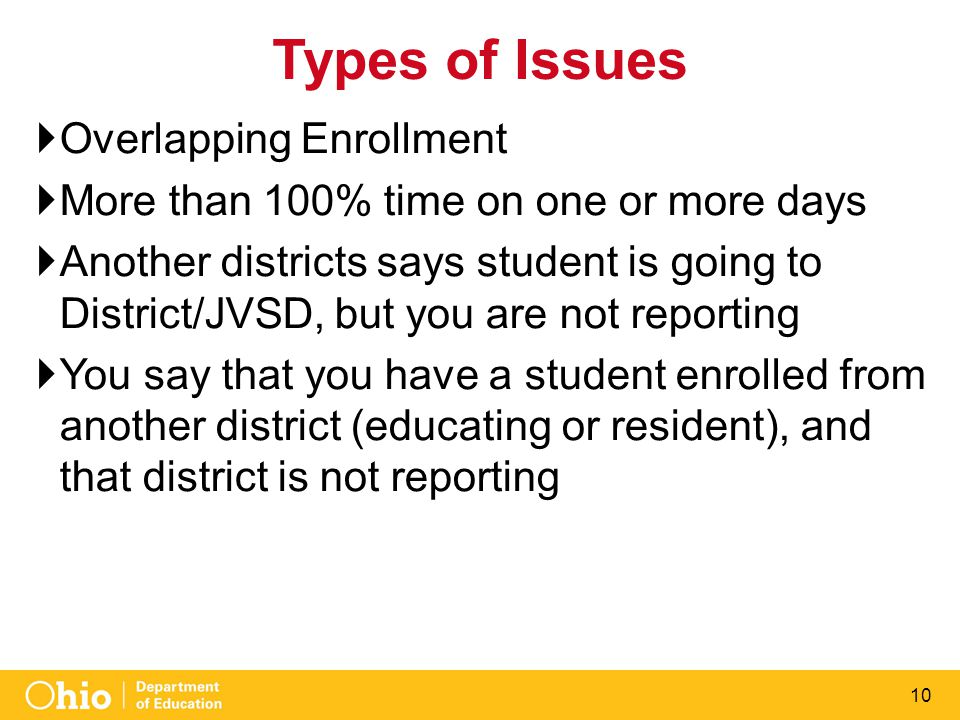 10 Types of Issues  Overlapping Enrollment  More than 100% time on one or more days  Another districts says student is going to District/JVSD, but