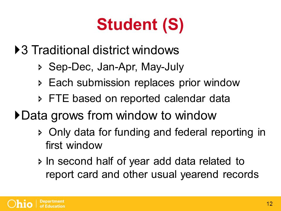 12 Student (S)  3 Traditional district windows  Sep-Dec, Jan-Apr, May-July  Each submission replaces prior window  FTE based on reported calendar data  Data grows from window to window  Only data for funding and federal reporting in first window  In second half of year add data related to report card and other usual yearend records