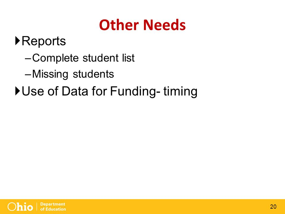 20 Other Needs  Reports –Complete student list –Missing students  Use of Data for Funding- timing