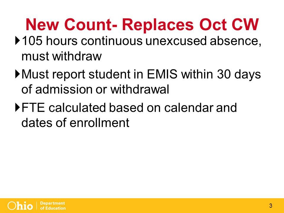 3 New Count- Replaces Oct CW  105 hours continuous unexcused absence, must withdraw  Must report student in EMIS within 30 days of admission or withdrawal  FTE calculated based on calendar and dates of enrollment