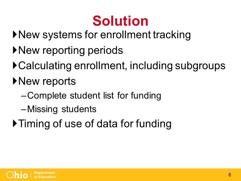 6 Solution  New systems for enrollment tracking  New reporting periods  Calculating enrollment, including subgroups  New reports –Complete student list for funding –Missing students  Timing of use of data for funding
