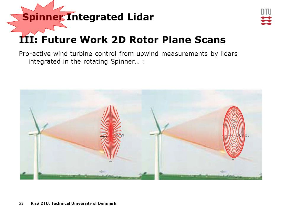 32Risø DTU, Technical University of Denmark Spinner Integrated Lidar III: Future Work 2D Rotor Plane Scans Pro-active wind turbine control from upwind
