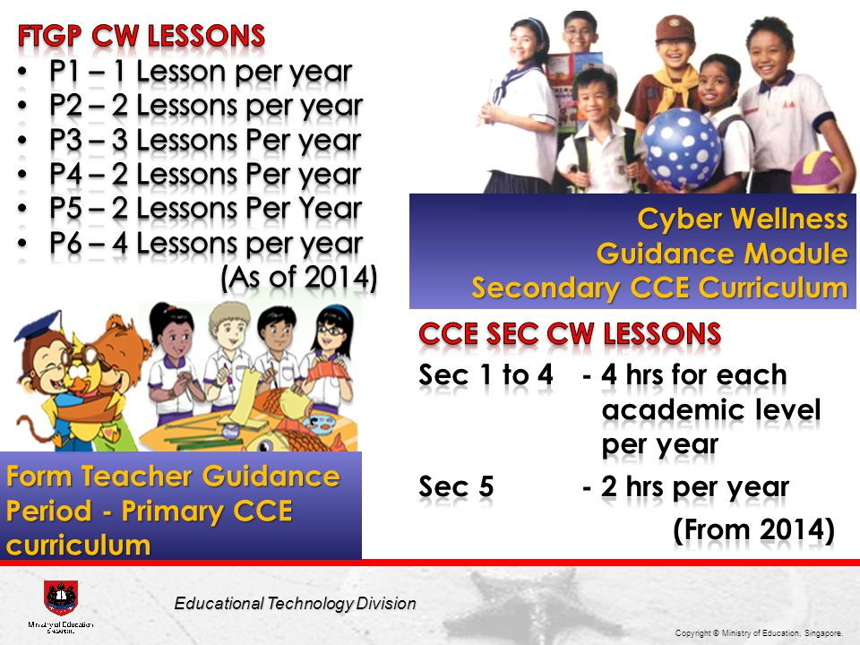 Copyright © Ministry of Education, Singapore. Educational Technology Division Form Teacher Guidance Period - Primary CCE curriculum Cyber Wellness Gui