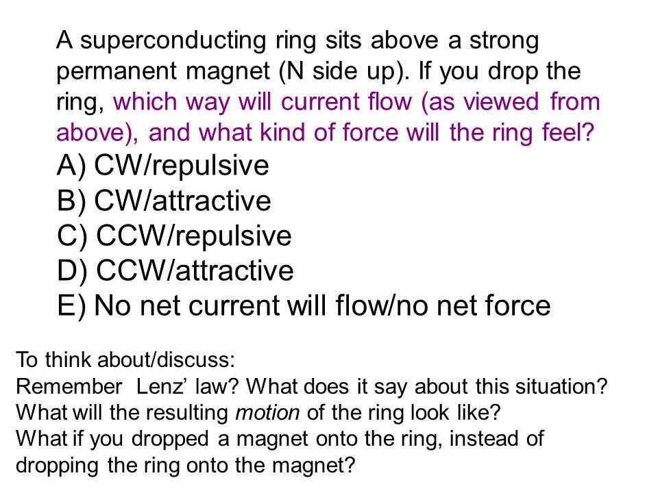 A superconducting ring sits above a strong permanent magnet (N side up).