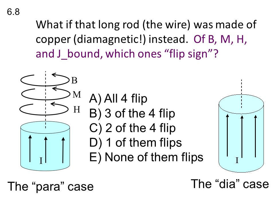 A) All 4 flip B) 3 of the 4 flip C) 2 of the 4 flip D) 1 of them flips E) None of them flips 6.8 The para case The dia case What if that long rod (the wire) was made of copper (diamagnetic!) instead.
