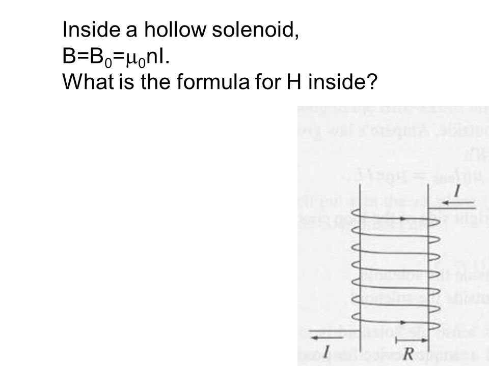 Inside a hollow solenoid, B=B 0 =  0 nI. What is the formula for H inside