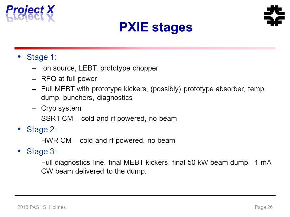 PXIE stages Stage 1: –Ion source, LEBT, prototype chopper –RFQ at full power –Full MEBT with prototype kickers, (possibly) prototype absorber, temp. d