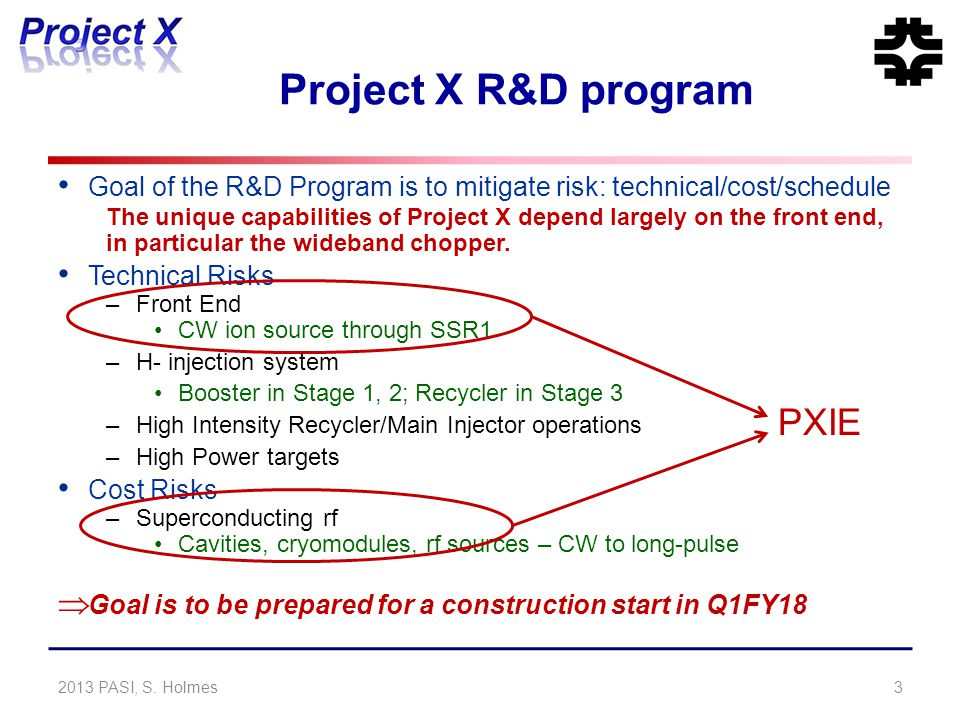Project X R&D program Goal of the R&D Program is to mitigate risk: technical/cost/schedule The unique capabilities of Project X depend largely on the