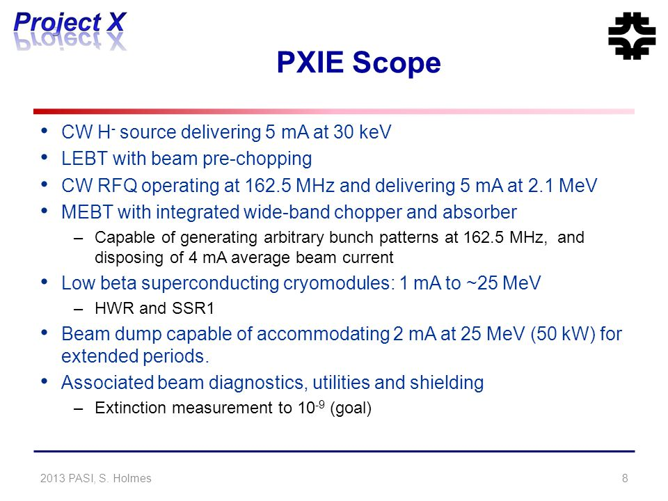 PXIE Scope CW H - source delivering 5 mA at 30 keV LEBT with beam pre-chopping CW RFQ operating at 162.5 MHz and delivering 5 mA at 2.1 MeV MEBT with
