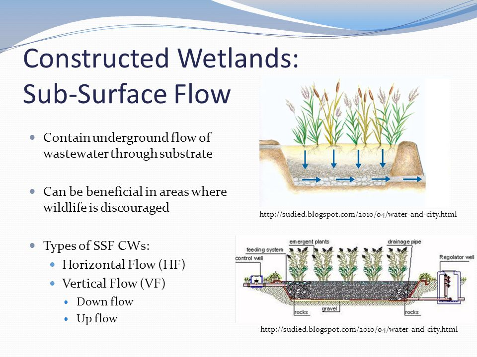 Constructed Wetlands: Sub-Surface Flow Contain underground flow of wastewater through substrate Can be beneficial in areas where wildlife is discouraged Types of SSF CWs: Horizontal Flow (HF) Vertical Flow (VF) Down flow Up flow http://sudied.blogspot.com/2010/04/water-and-city.html