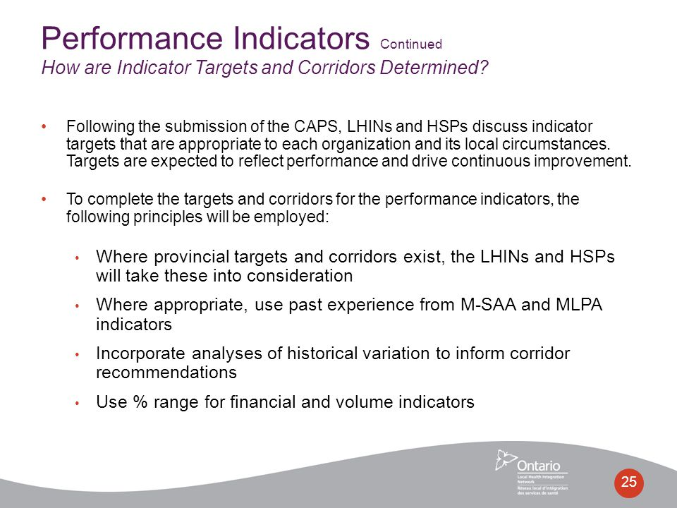 Following the submission of the CAPS, LHINs and HSPs discuss indicator targets that are appropriate to each organization and its local circumstances.