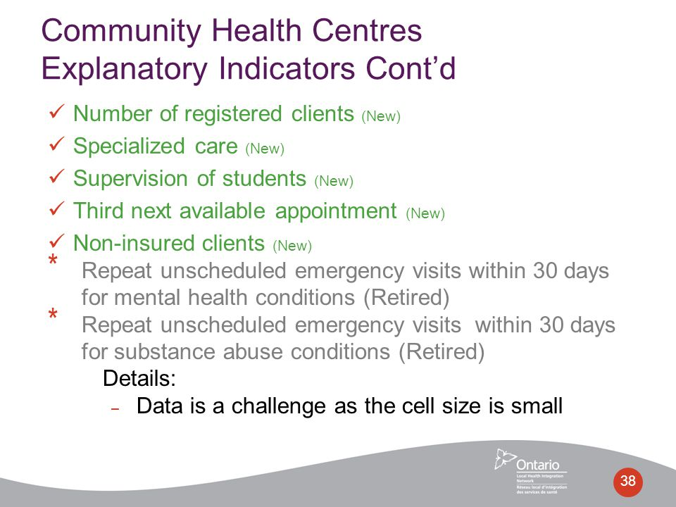 38 Community Health Centres Explanatory Indicators Cont'd Number of registered clients (New) Specialized care (New) Supervision of students (New) Thir