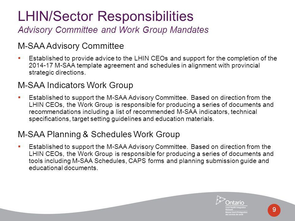M-SAA Advisory Committee  Established to provide advice to the LHIN CEOs and support for the completion of the 2014-17 M-SAA template agreement and s