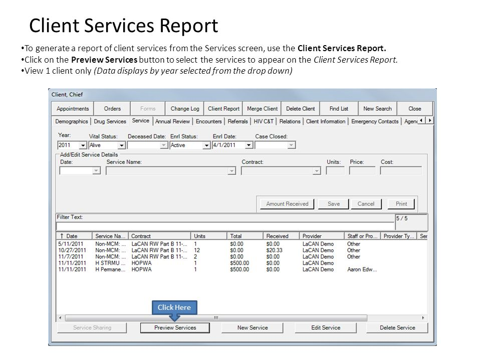 Client Services Report To generate a report of client services from the Services screen, use the Client Services Report. Click on the Preview Services