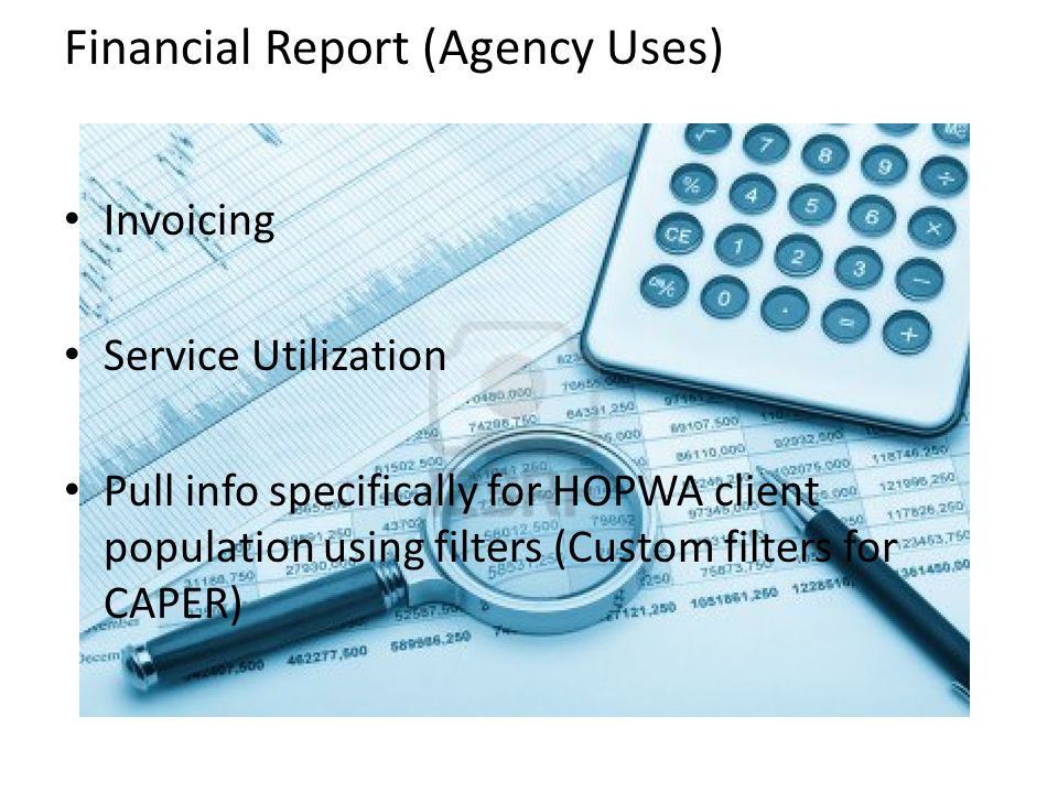 Invoicing Service Utilization Pull info specifically for HOPWA client population using filters (Custom filters for CAPER) Financial Report (Agency Use
