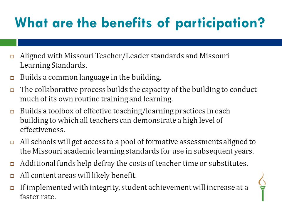 More benefits…  Supportive model—Weight Watchers  Helps maintain focus  Improves chances of implementing with high fidelity  Outside support to help solve problems  Will develop regional and state ability to share practices, lesson plans, formative assessments, etc.