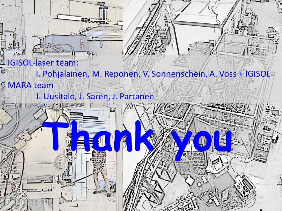 Thank you IGISOL-laser team: I. Pohjalainen, M. Reponen, V. Sonnenschein, A. Voss + IGISOL MARA team J. Uusitalo, J. Sarén, J. Partanen