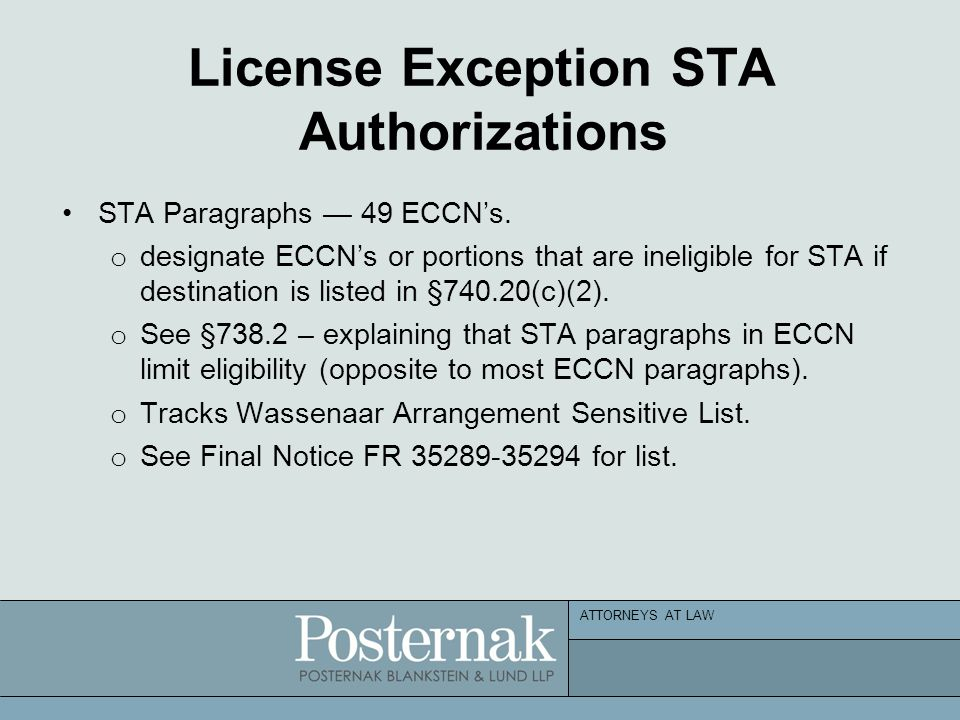 ATTORNEYS AT LAW License Exception STA Authorizations STA Paragraphs — 49 ECCN's.