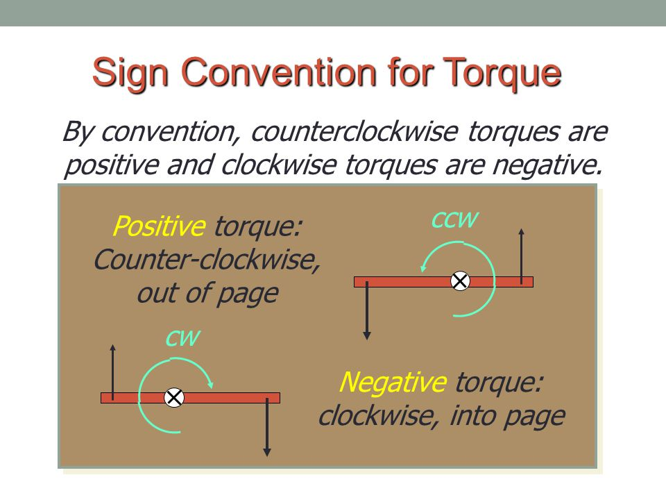 Sign Convention for Torque By convention, counterclockwise torques are positive and clockwise torques are negative.