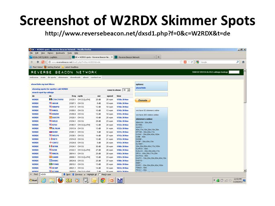 Screenshot of W2RDX Skimmer Spots http://www.reversebeacon.net/dxsd1.php f=0&c=W2RDX&t=de