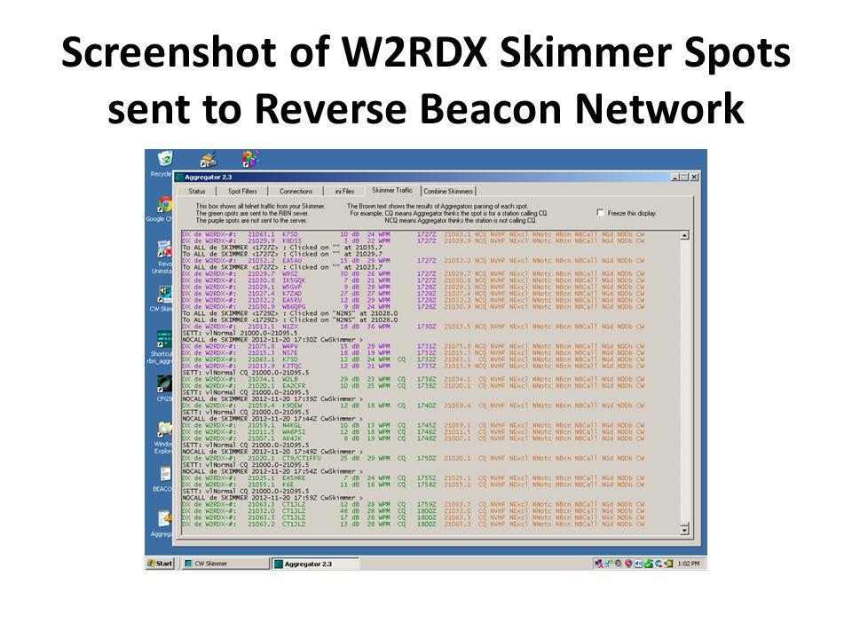 Screenshot of W2RDX Skimmer Spots sent to Reverse Beacon Network