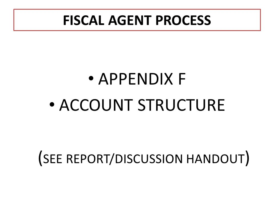 FISCAL AGENT PROCESS APPENDIX F ACCOUNT STRUCTURE ( SEE REPORT/DISCUSSION HANDOUT )