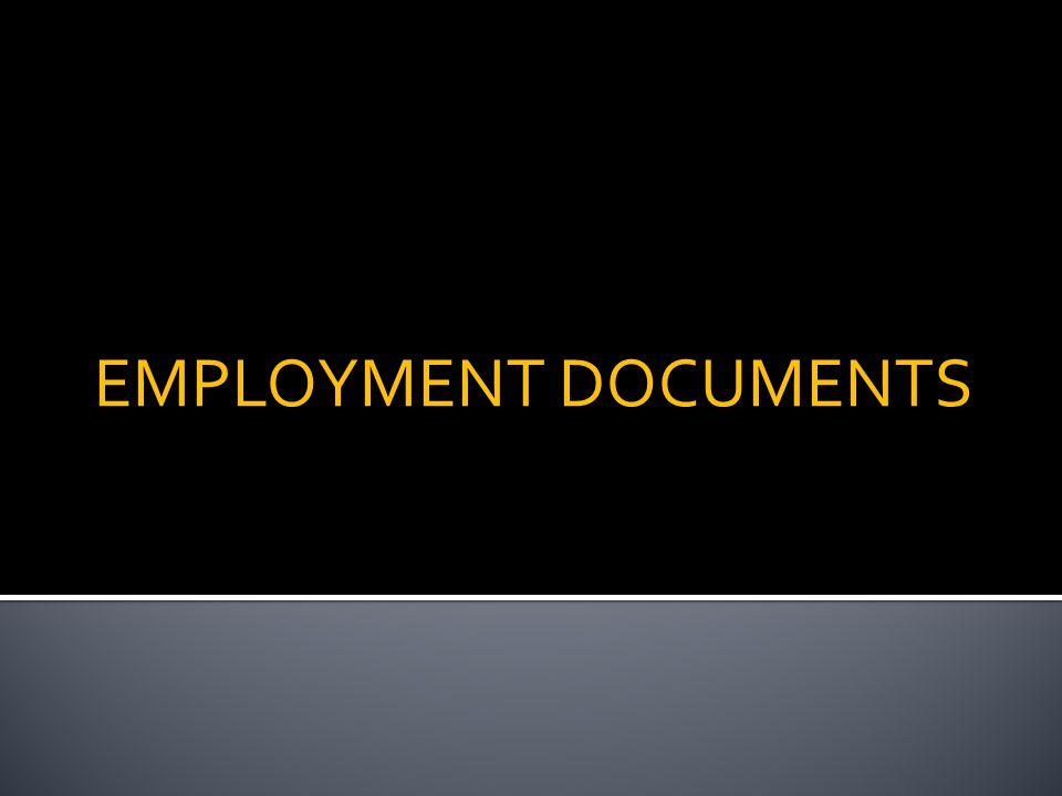 EMPLOYMENT DOCUMENTS