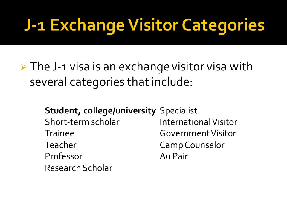  The J-1 visa is an exchange visitor visa with several categories that include: Student, college/universitySpecialist Short-term scholarInternational Visitor TraineeGovernment Visitor TeacherCamp Counselor ProfessorAu Pair Research Scholar