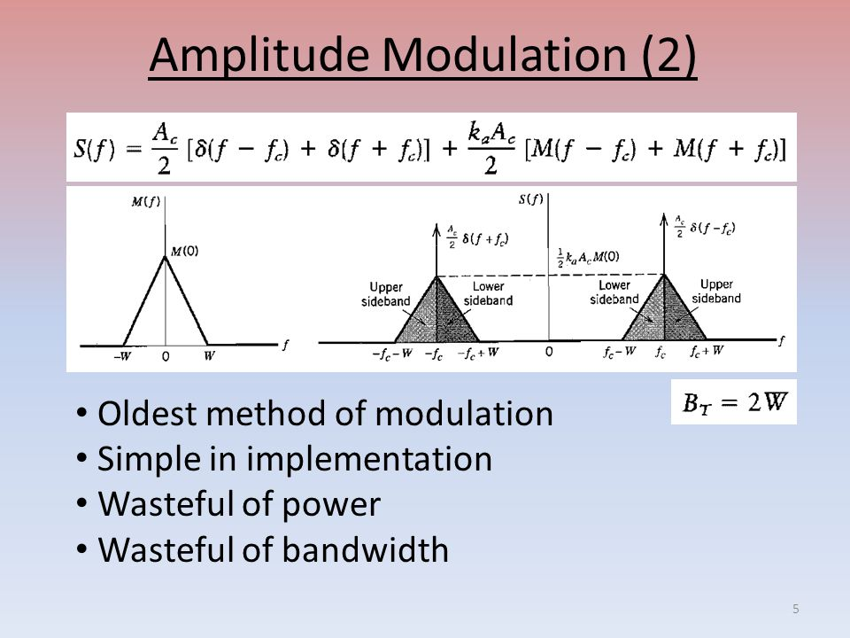 Amplitude Modulation (2) Oldest method of modulation Simple in implementation Wasteful of power Wasteful of bandwidth 5