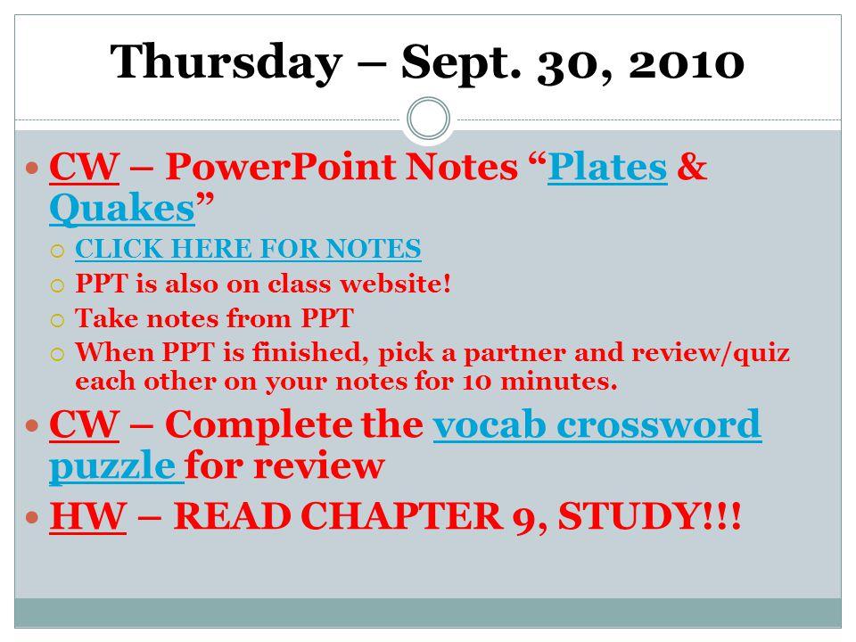 Thursday – Sept.