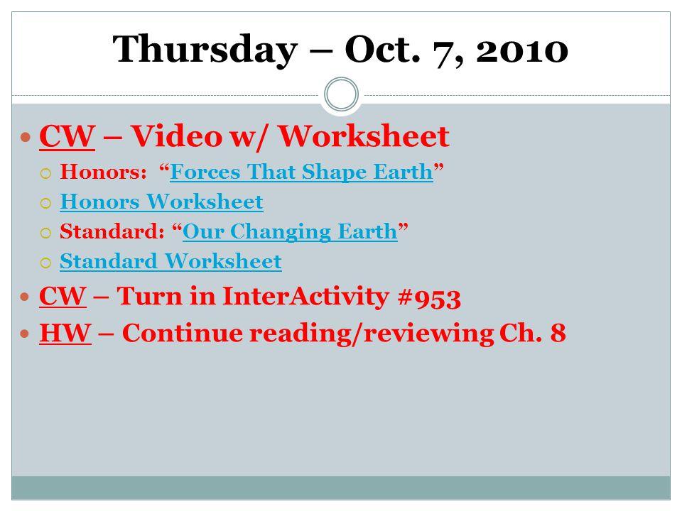 Thursday – Oct.