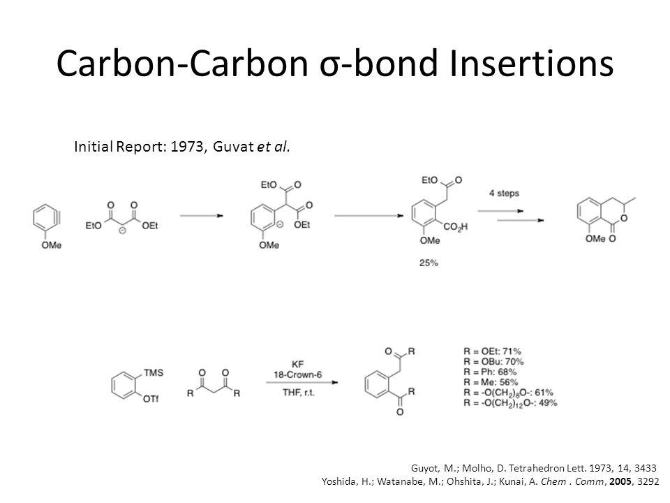 Carbon-Carbon σ-bond Insertions Initial Report: 1973, Guvat et al.