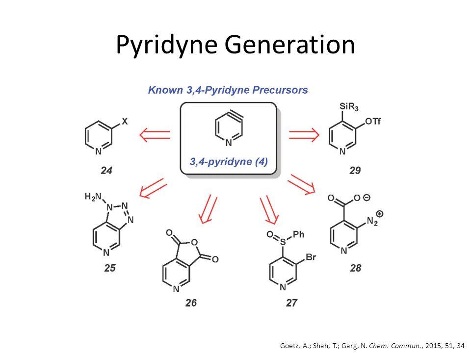 Pyridyne Generation Goetz, A.; Shah, T.; Garg, N. Chem. Commun., 2015, 51, 34