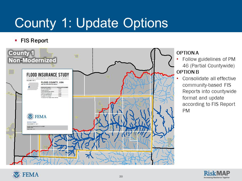 30 County 1: Update Options  FIS Report OPTION A Follow guidelines of PM 46 (Partial Countywide) OPTION B Consolidate all effective community-based FIS Reports into countywide format and update according to FIS Report PM