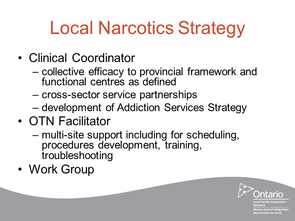 Local Narcotics Strategy Clinical Coordinator –collective efficacy to provincial framework and functional centres as defined –cross-sector service partnerships –development of Addiction Services Strategy OTN Facilitator –multi-site support including for scheduling, procedures development, training, troubleshooting Work Group
