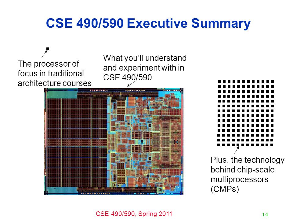CSE 490/590, Spring 2011 14 CSE 490/590 Executive Summary The processor of focus in traditional architecture courses What you'll understand and experiment with in CSE 490/590 Plus, the technology behind chip-scale multiprocessors (CMPs)