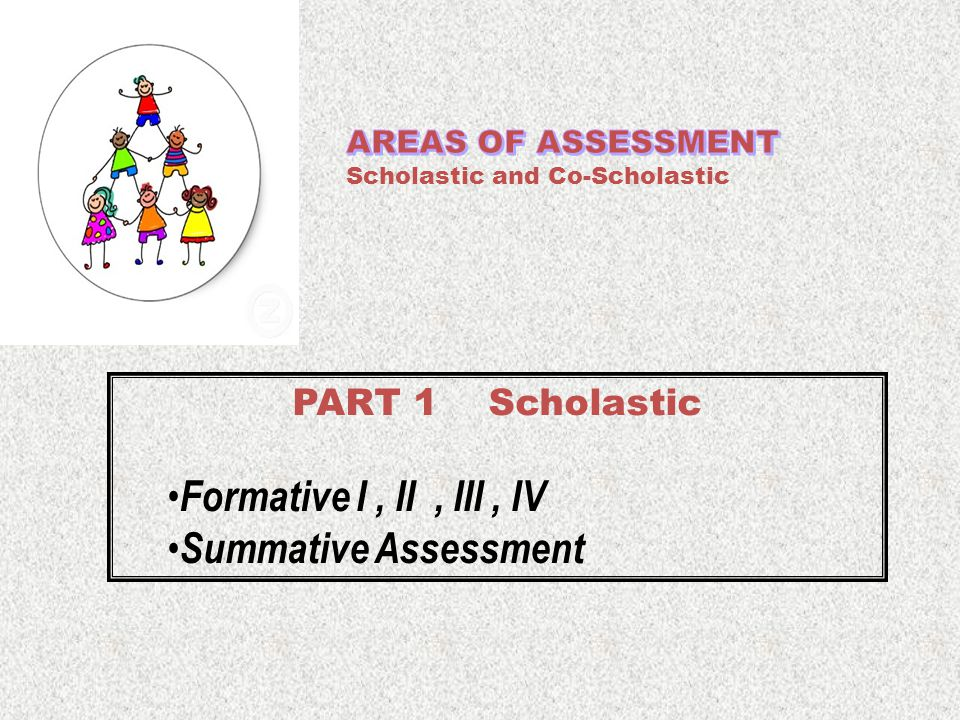 PART 1 Scholastic Formative I, II, III, IV Summative Assessment