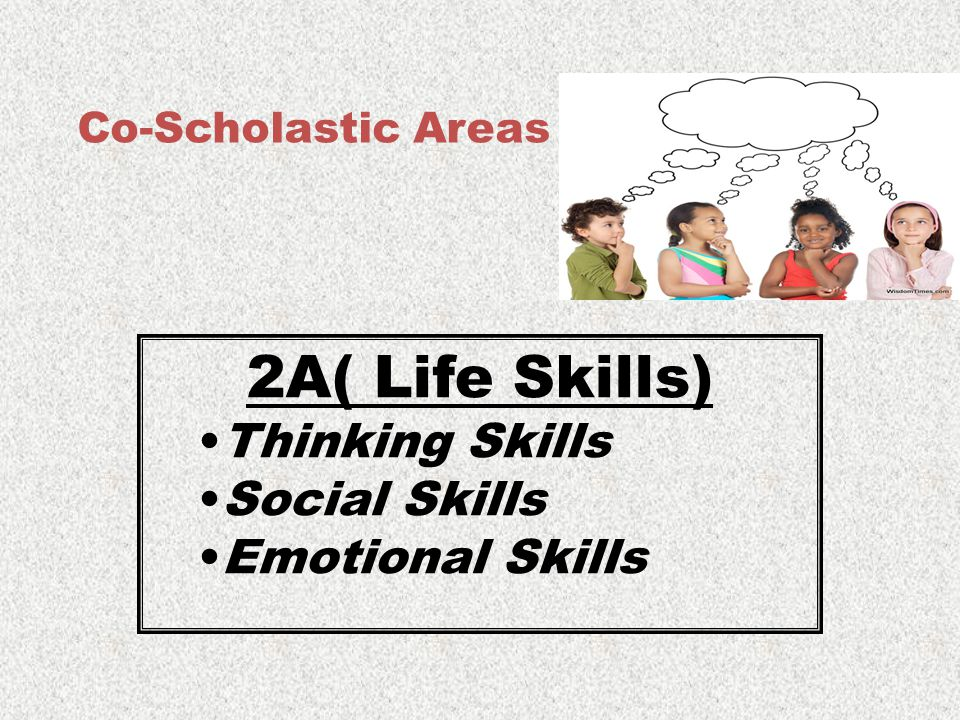 Co-Scholastic Areas 2A( Life Skills) Thinking Skills Social Skills Emotional Skills
