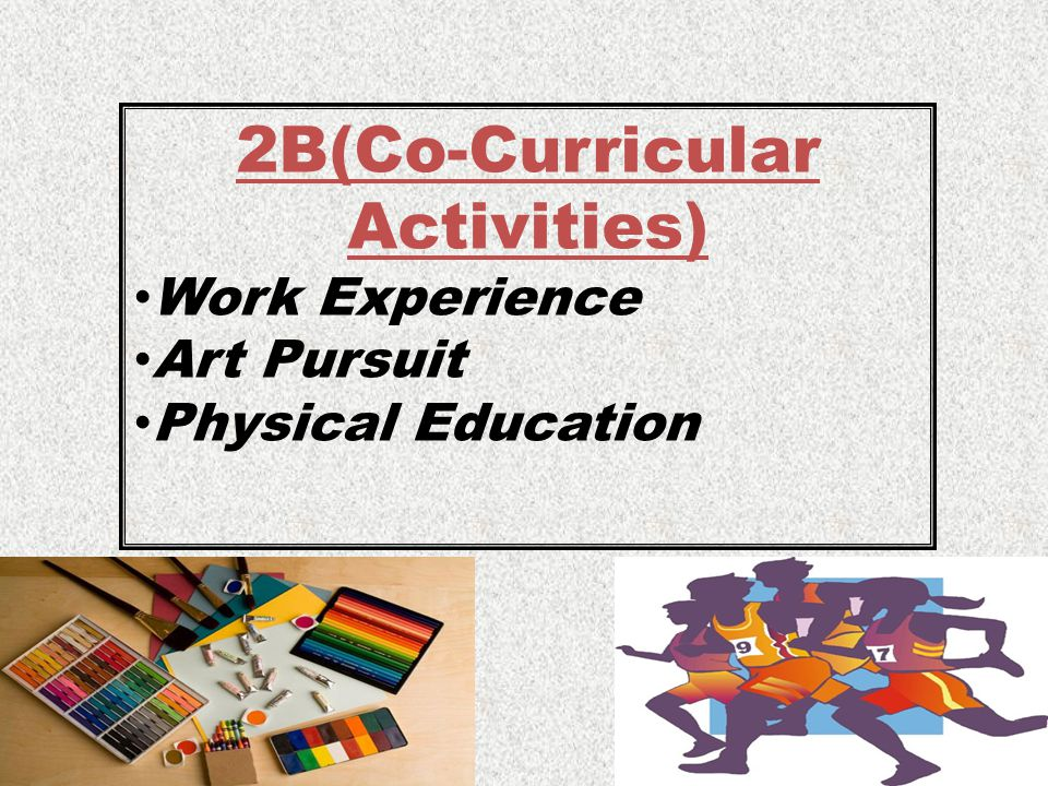 2B(Co-Curricular Activities) Work Experience Art Pursuit Physical Education
