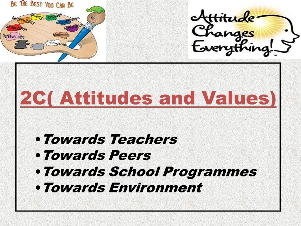 2C( Attitudes and Values) Towards Teachers Towards Peers Towards School Programmes Towards Environment