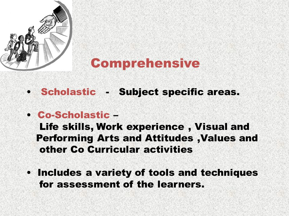 Comprehensive Scholastic - Subject specific areas. Co-Scholastic – Life skills, Work experience, Visual and Performing Arts and Attitudes,Values and o
