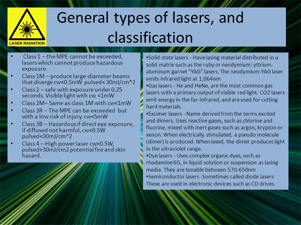 Selected laser applications CO2 gas laser – industrial use for cutting thick metal, cw power between 1mW-100kW Inertial confinement fusion (ICF)– Research based, National ignition facility (NIF) uses an initial laser beam generated from a ytterbium-doped laser to produce a power of 500 terawatts.