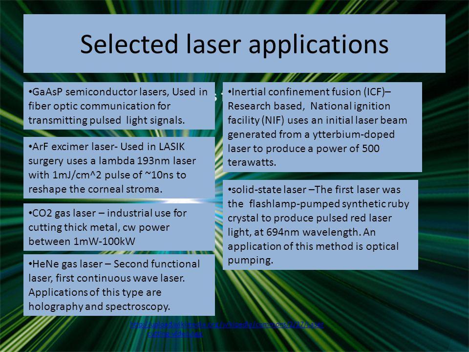 Weschler, Matthew. How Lasers Work 01 April 2000.