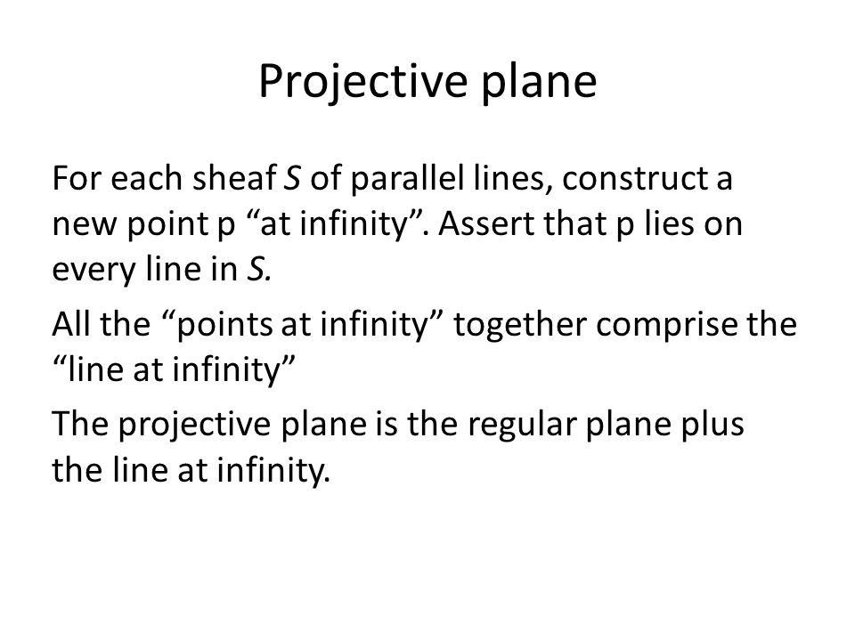 Projective plane For each sheaf S of parallel lines, construct a new point p at infinity .