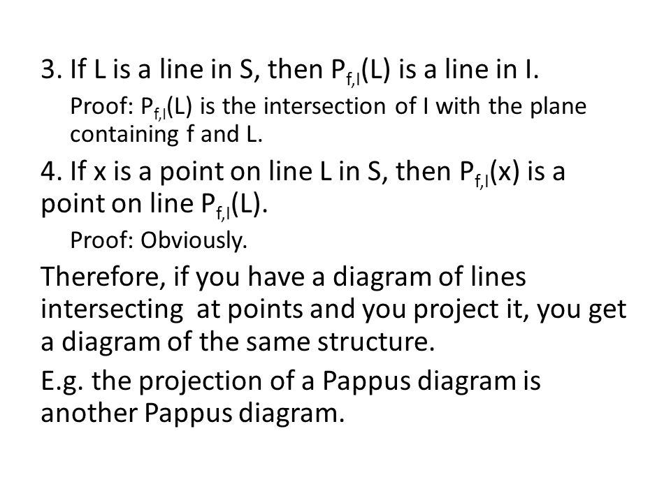 3. If L is a line in S, then P f,I (L) is a line in I.