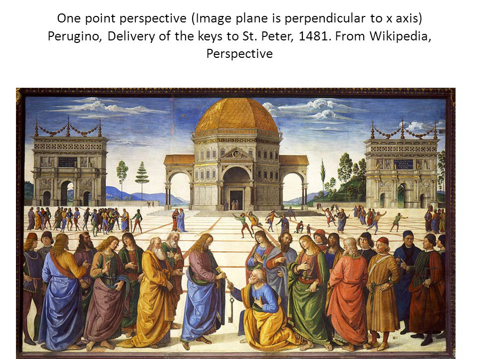One point perspective (Image plane is perpendicular to x axis) Perugino, Delivery of the keys to St. Peter, 1481. From Wikipedia, Perspective